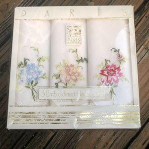 Vtg Floral Embroider Handkerchiefs Hankies Pink